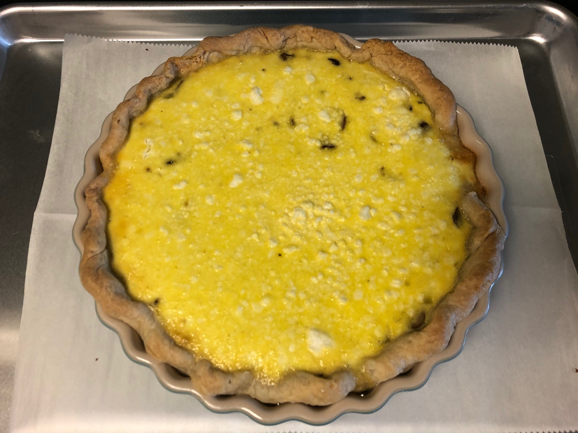 Quiche with Sautéed Mushrooms, Leeks and Goat Cheese